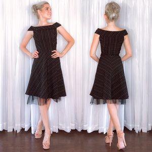 Black Stripe Off Shoulder Fit and Flair Dress
